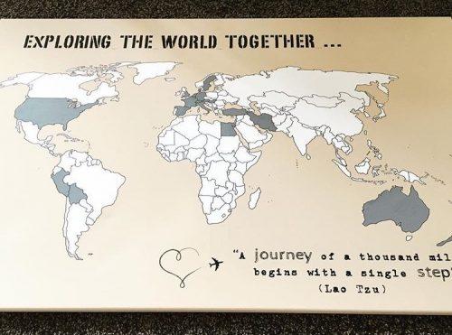 Weltkarte Reiseerinnerung